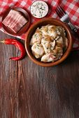 image of fried onion  - Fried dumplings with onion and bacon in frying pan - JPG