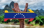 stock photo of canaima  - Venezuela Flag wooden sign with countryside background - JPG