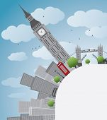 picture of big-ben  - London panorama with big Ben and skyscrapers Vector illustration with place for text - JPG