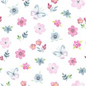 pic of flying-insect  - Seamless floral pattern with watercolor flowers and butterflies in vintage style - JPG