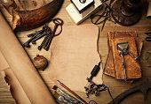 foto of wood pieces  - Blank piece of leather on vintage wood desk - JPG