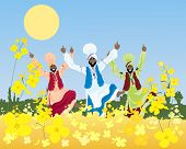 image of punjabi  - an illustration of a three colorful bhangra dancers in a punjabi landscape with mustard crop under a blue sky - JPG