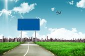 picture of horizon  - Graphic airplane against road leading out to the horizon - JPG