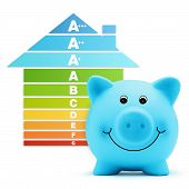 stock photo of piggy  - energy class scale savings efficiency piggy bank home - JPG