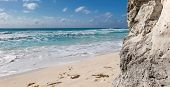 picture of caribbean  - Ocean with waves and rocks on caribbean beach  - JPG