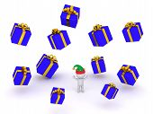 image of gift wrapped  - A 3D character wearing and elf hat and many wrapped gift boxes falling - JPG