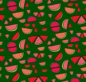 foto of watermelon slices  - Vector seamless pattern of slices of watermelon - JPG