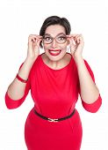 stock photo of wacky  - Crazy plus size woman in glasses looking on you isolated on white background - JPG