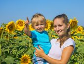 foto of mums  - Young mum with small son among sunflowers - JPG