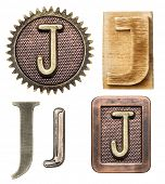 image of letter j  - Alphabet made of wood and metal - JPG