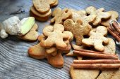 stock photo of ginger man  - Gingerbread cookies in shapes of heart - JPG