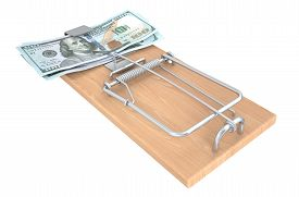 foto of mouse trap  - Money Trap with money  isolated on white background - JPG