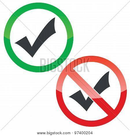 Select permission signs set
