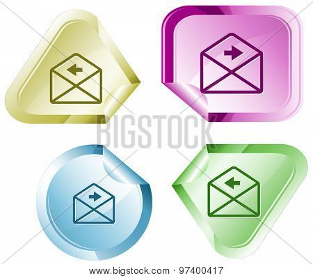 mail left arrow. Vector sticker.