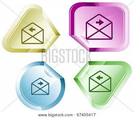 mail left arrow. Vector sticker.