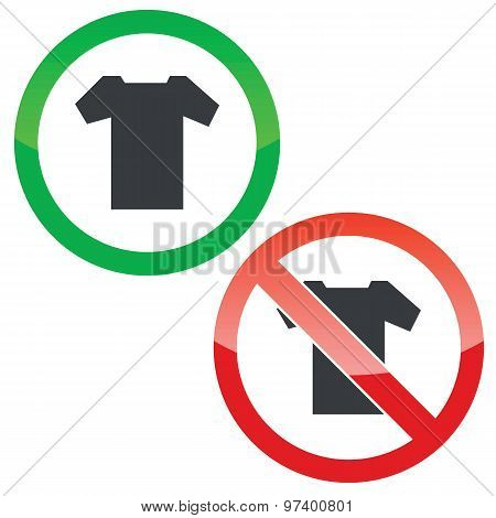 T-shirt permission signs set
