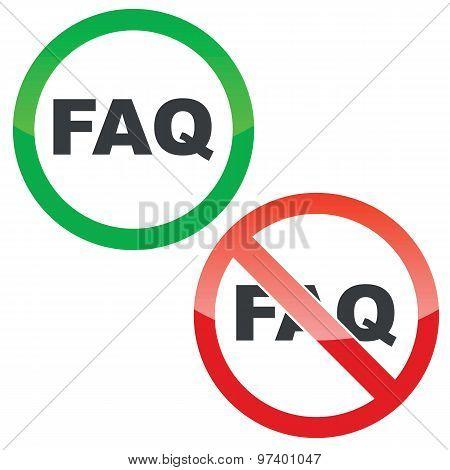 FAQ permission signs set