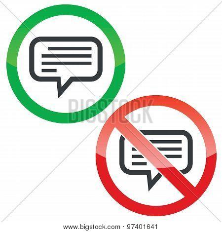 Text message permission signs set