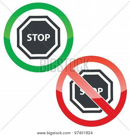 STOP permission signs set
