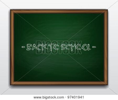 Green chalkboard in wooden frame.