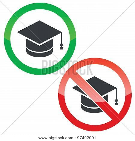 Graduate permission signs set
