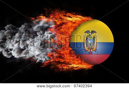 Flag With A Trail Of Fire And Smoke - Ecuador