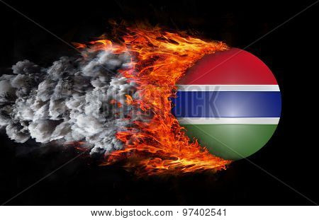 Flag With A Trail Of Fire And Smoke - Gambia