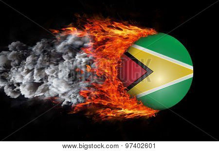 Flag With A Trail Of Fire And Smoke - Guyana