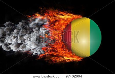 Flag With A Trail Of Fire And Smoke - Guinea