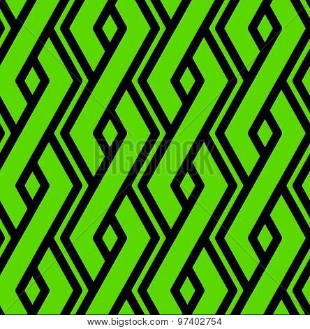 Colorful geometric seamless pattern, symmetric endless vector background with intertwine green lines