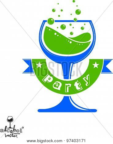 Alcohol theme vector art illustration. Festive goblet with decorative wavy ribbon