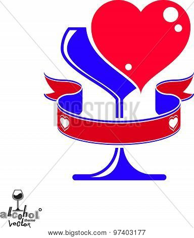 Vector art illustration of wineglass with two loving hearts, wedding concept. Alcohol theme graphic