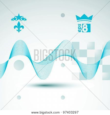 Slender 3d textile motif background, curved stripy flowing lines, relax aerial composition, eps8
