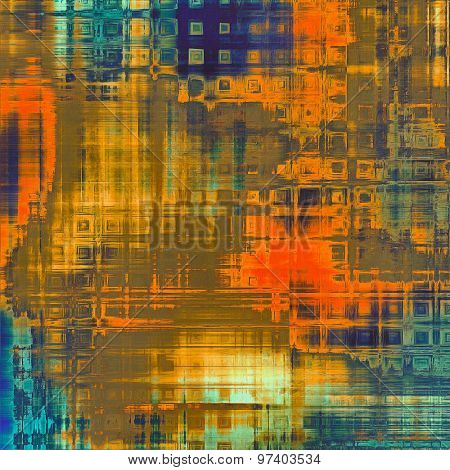Retro background with grunge texture. With different color patterns: brown; blue; cyan; red (orange)