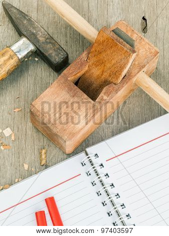The Carpenter Plane And Wood Shavings For Woodwork.