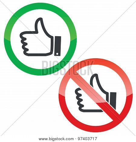 Like permission signs set