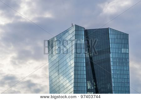 Facade Of Ecb In Cloudy Weather