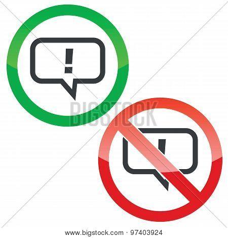 Answer permission signs set