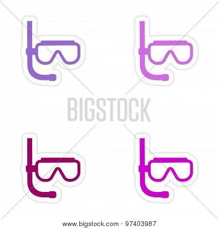 assembly realistic sticker design on paper scuba diving mask