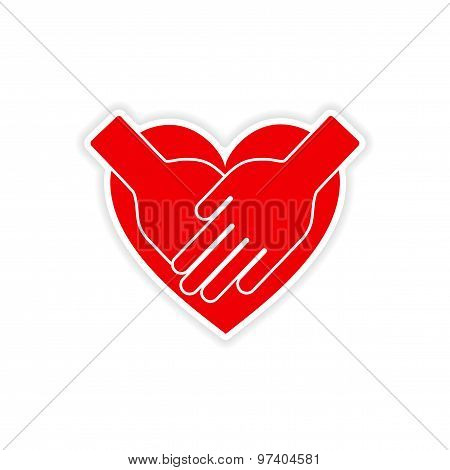 icon sticker realistic design on paper hands heart
