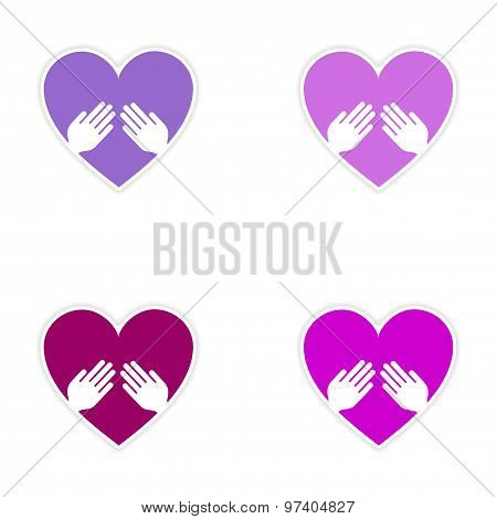 assembly realistic sticker design on paper heart hand