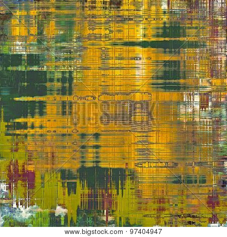 Weathered and distressed grunge background with different color patterns: yellow (beige); brown; purple (violet); green