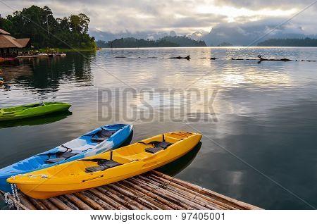Colorful  Kayak On The Lake.
