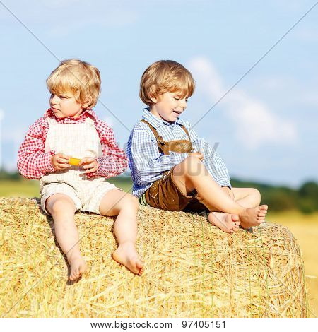 Two Little Friends And Friends Sitting On Hay Stack