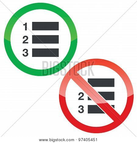 Numbered list permission signs set