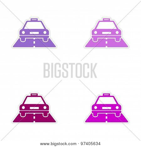 assembly realistic sticker design on paper taxi car