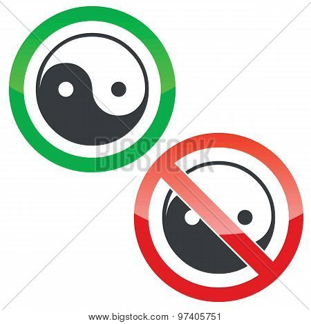 Ying yang permission signs set