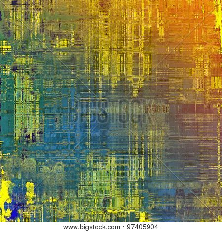 Grunge stained texture, distressed background with space for text or image. With different color patterns: yellow (beige); green; blue; red (orange)