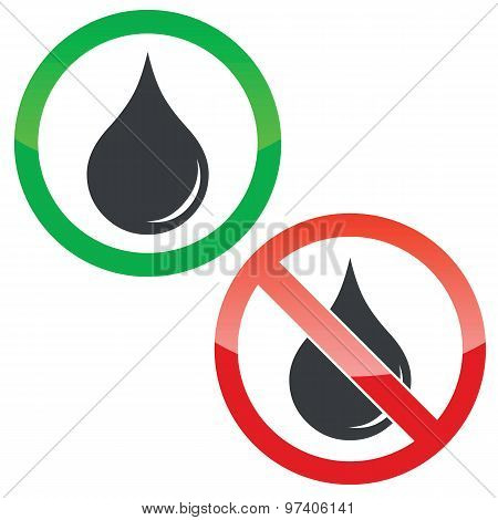 Water permission signs set