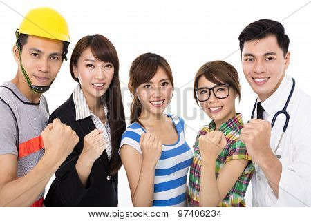 Group Of Diverse Young People In Different Occupations